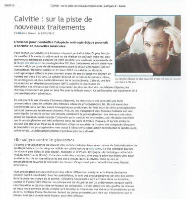 Article sur les nouveaux traitements de la calvitie