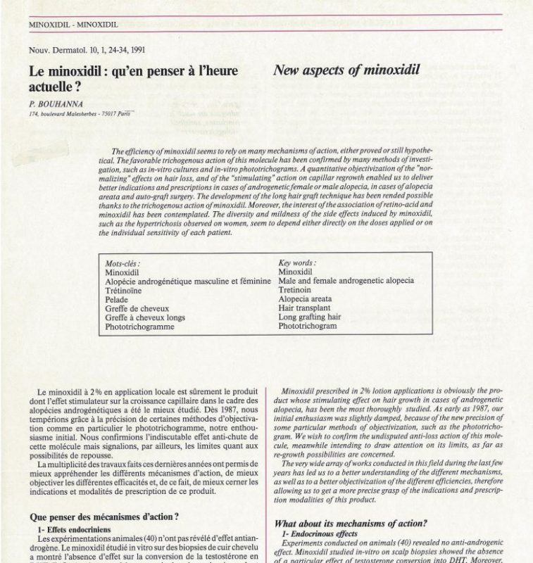 Article scientifique sur le Minoxidil