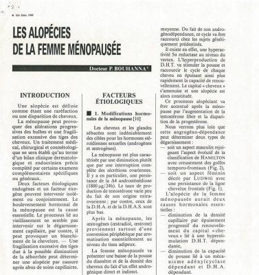 Article sur les alopécies de la femme ménopausée par le Docteur Pierre Bouhanna