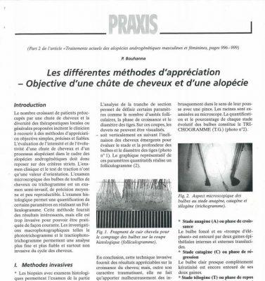 Article scientifique sur les différentes méthodes d'appréciation objective d'une chute de cheveux et d'une alopécie