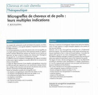 Article scientifique sur les microgreffes de cheveux et de poils par le Dr Pierre Bouhanna