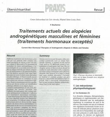 Article scientifique sur les traitements actuels des alopécies androgénétiques masculines et féminines par le Docteur Pierre Bouhanna
