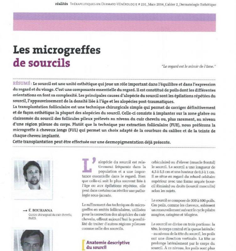 Article scientifique sur les microgreffes de sourcils par les Docteur Pierre et Eric Bouhanna